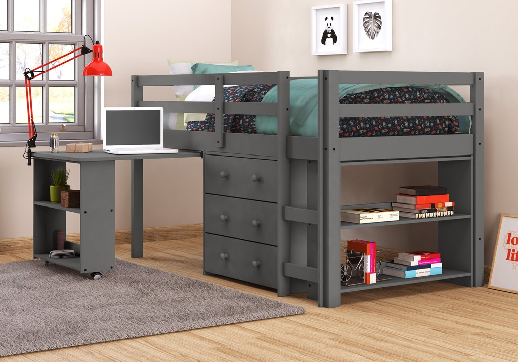 Picture of: Full Size Loft Bed with Dresser