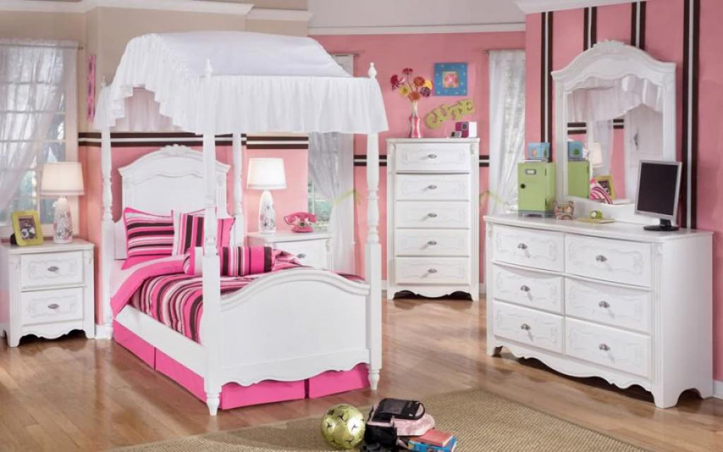 Picture of: Girls Children Bedroom Sets White And Pink