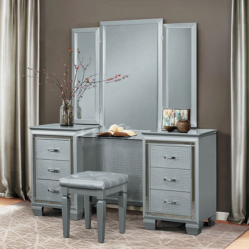 Picture of: Gray Makeup Vanity Table Stool
