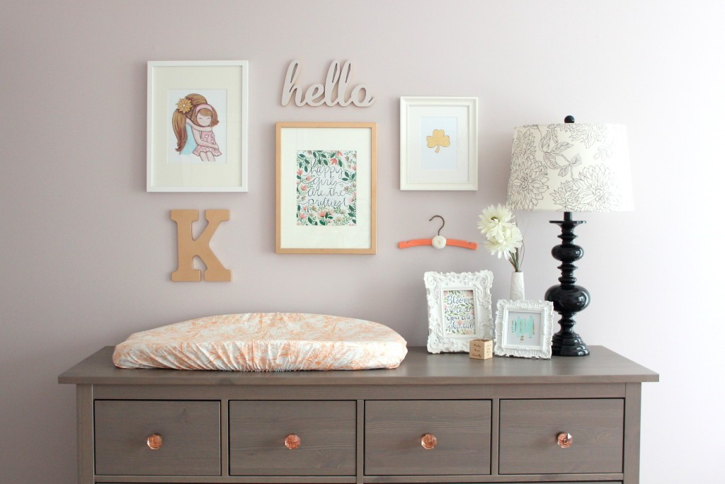 Image of: Grey Changing Table Dresser Combo