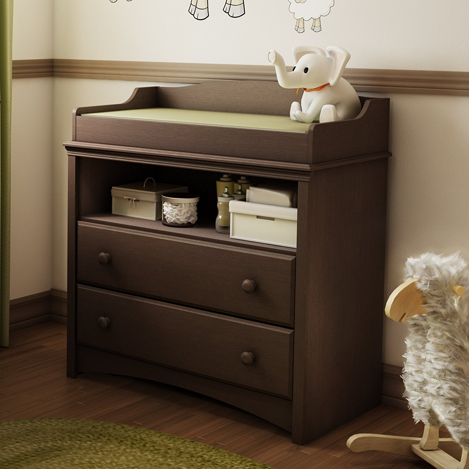 Picture of: Grey Changing Table Dresser
