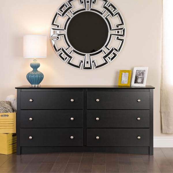 Hens Black Brown 6 Drawer Dresser
