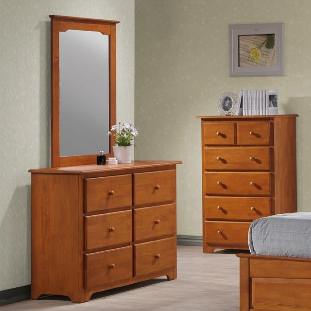 Picture of: Light Oak Dresser and Mirror