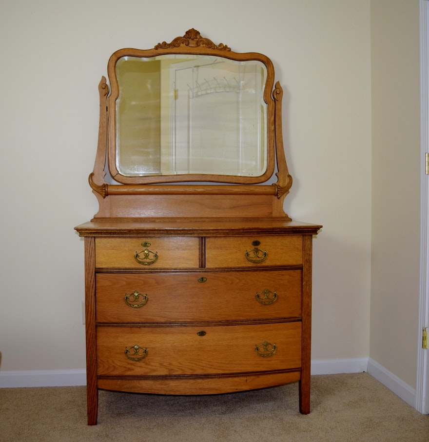 Picture of: Light Oak Dresser with Mirror