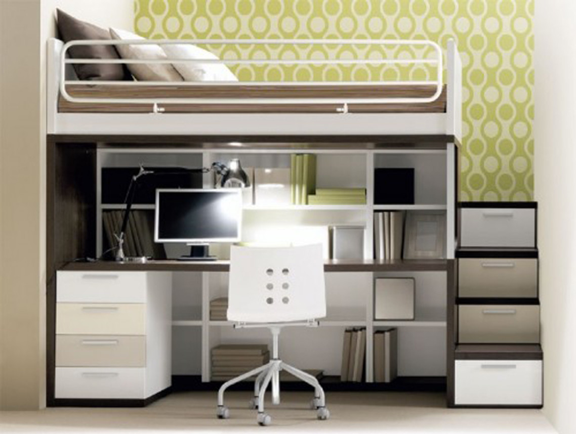 Picture of: Loft Bed With Desk And Couch