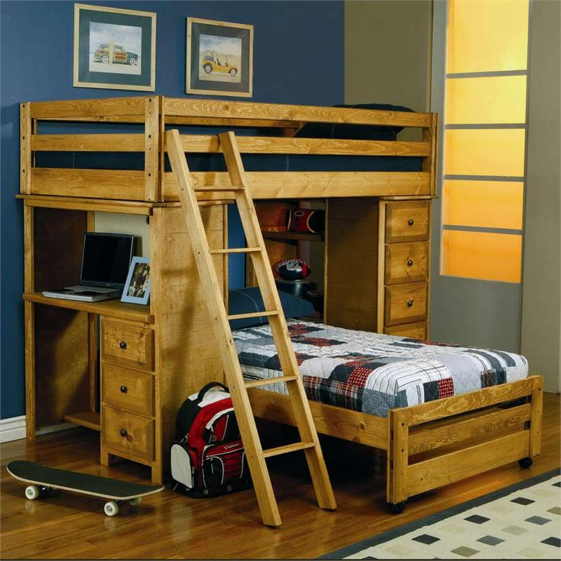 Picture of: Loft Bed With Dresser And Bookshelf