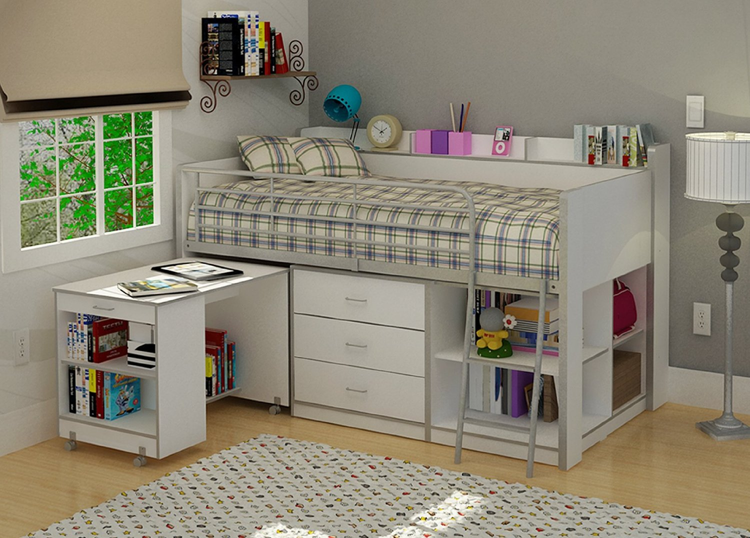 Picture of: Cool Loft Bed with Bookshelf