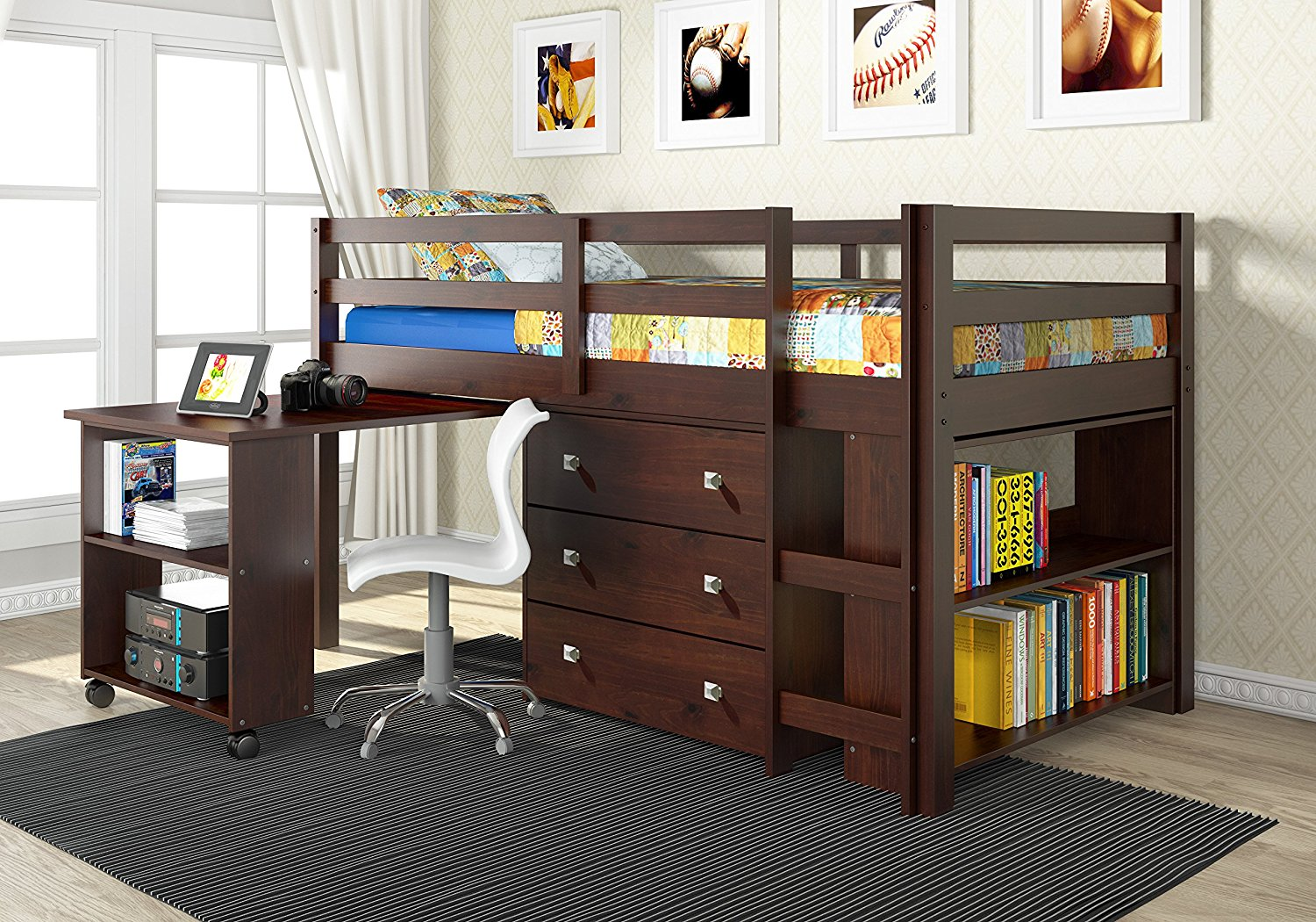 Picture of: Modern Loft Bed with Desk Underneath