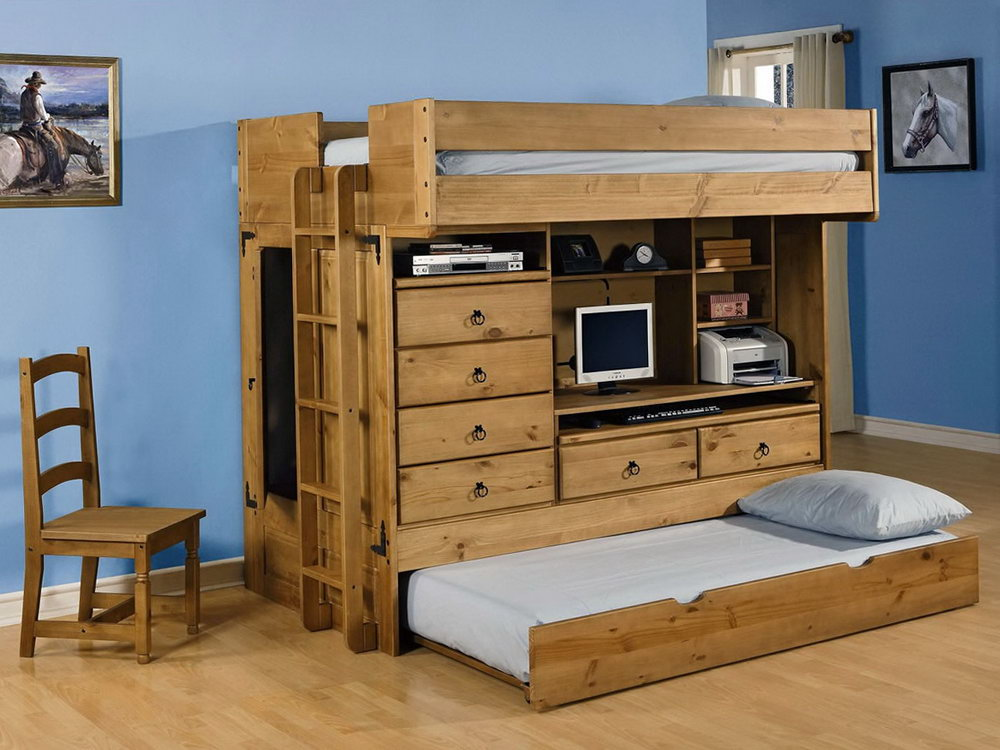 Picture of: Elegant Loft Bed with Desk and Couch