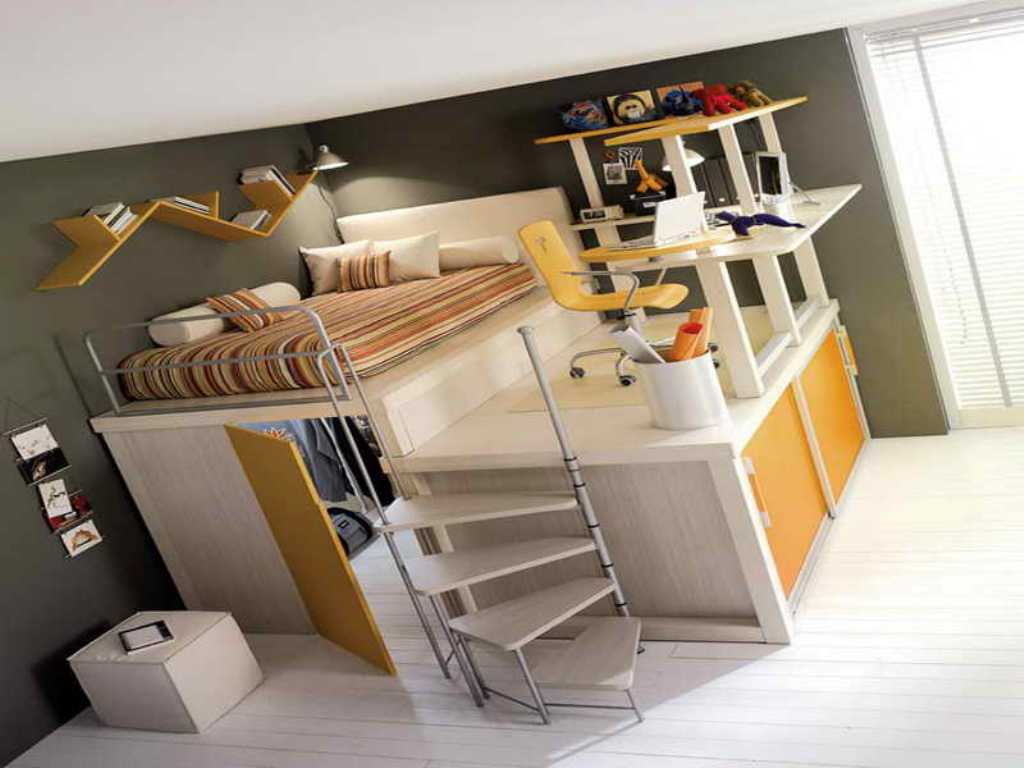Picture of: Low Loft Bed with Dresser