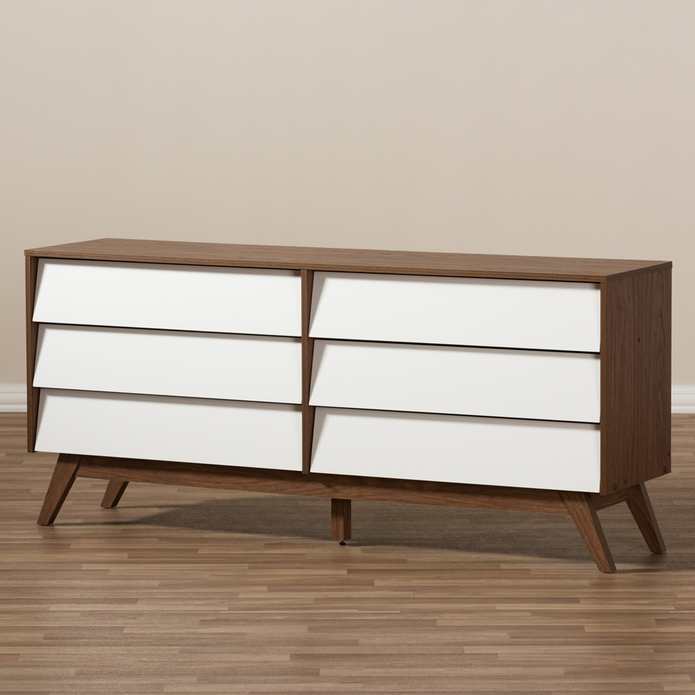 Image of: Mid Century 6 Drawer Dresser White