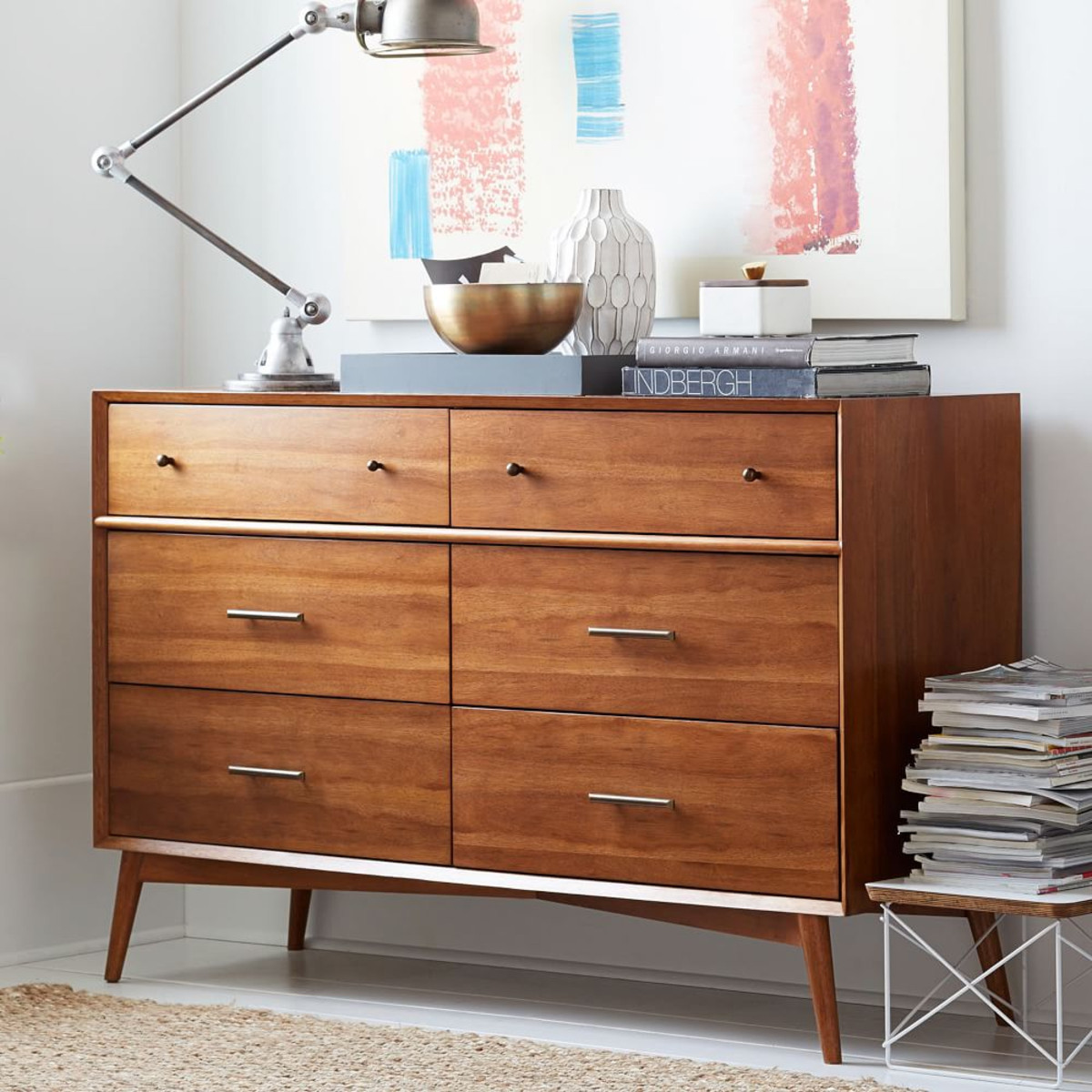 Picture of: Mid Century Modern 6 Drawer Dresser Ikea
