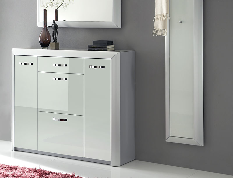 Picture of: Mirrored Shoe Cubbie Cabinet