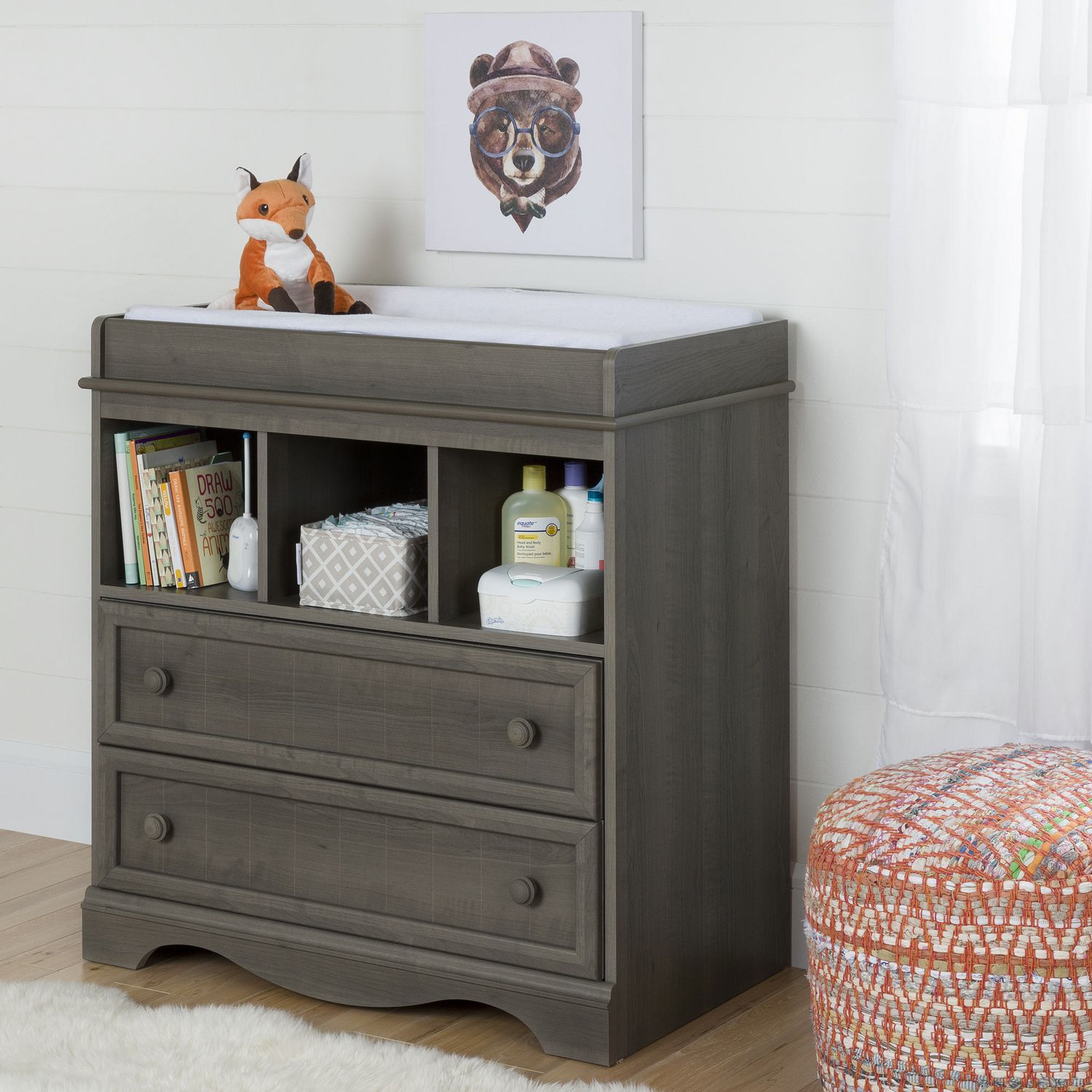 Picture of: Modern Gray Changing Table