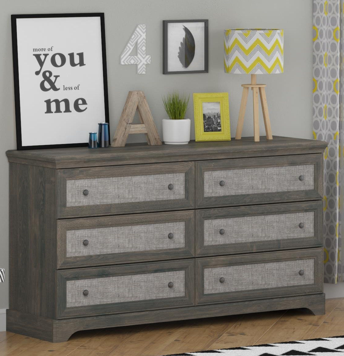 Picture of: Modern Grey Dresser and Decor