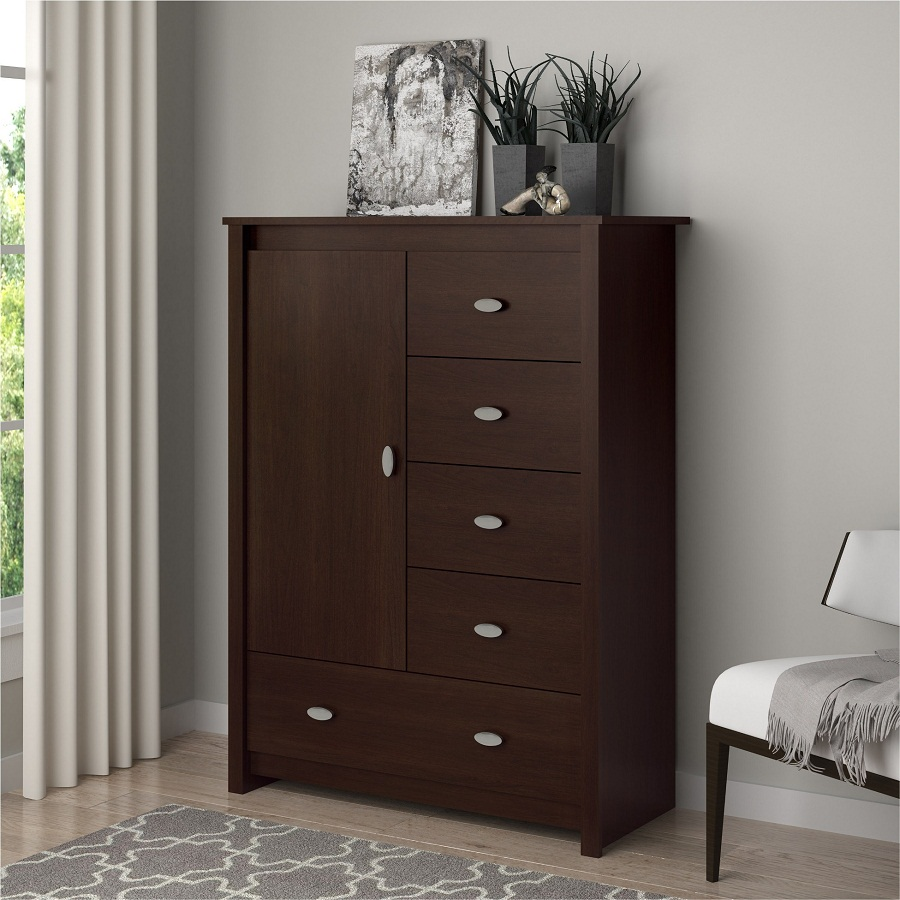 Modern Tall Dresser With Decor