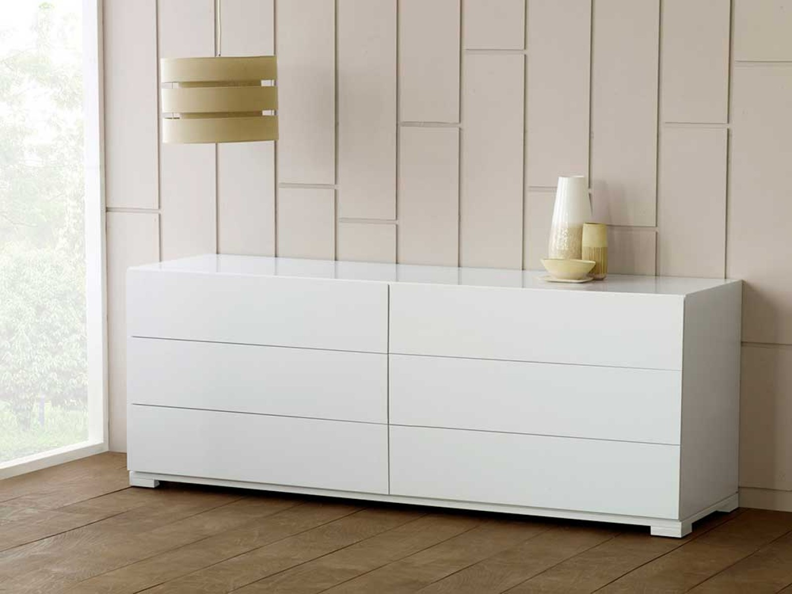 Modern White Dresser 6 Drawer