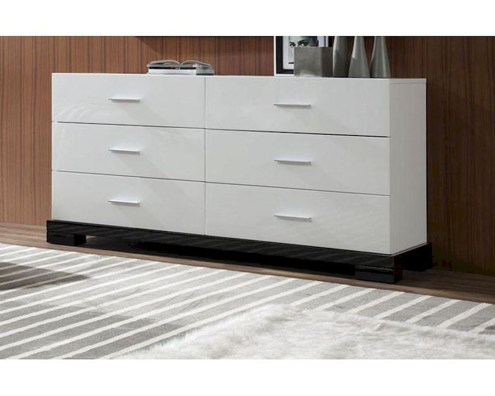 Picture of: Modern White and Wood Dresser