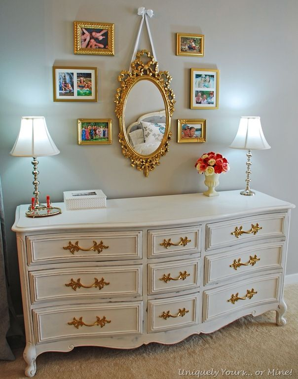 Picture of: Off White Dresser with Gold Trim