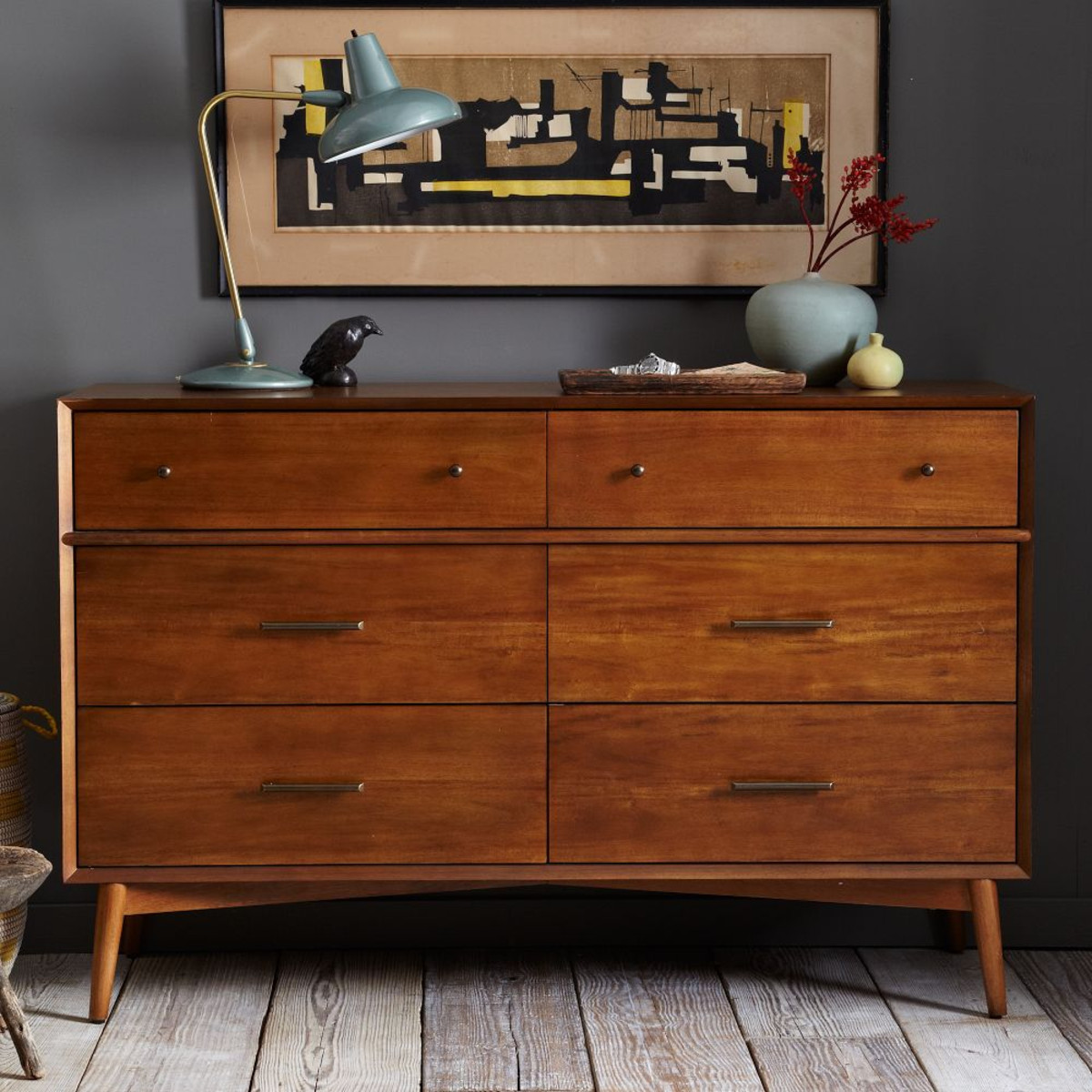 Picture of: Porter Mid Century Modern 6 Drawer Dresser