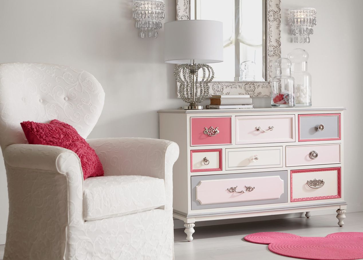 Pretty Pink and White Dresser