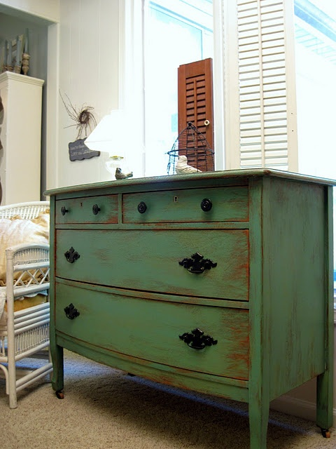 Picture of: Refinishing Baby Green Dresser