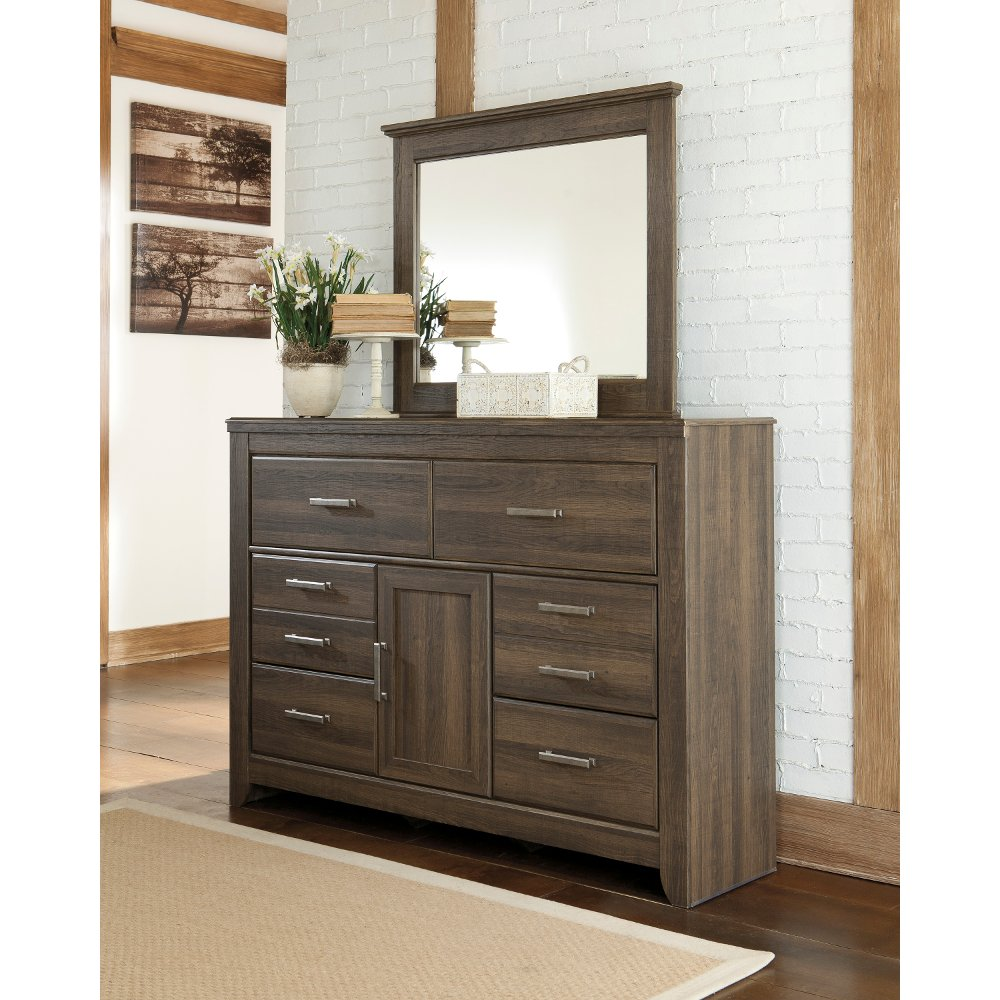 Picture of: Rustic Modern Grey Dresser With Mirror