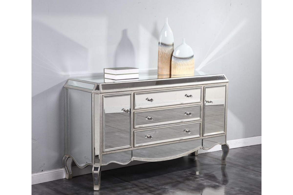 Image of: Silver Dresser With Mirror Doors