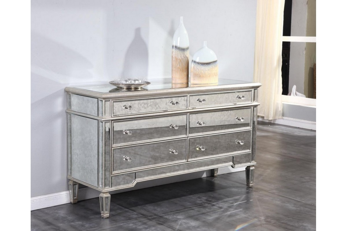 Image of: Silver Dressers Mirrored