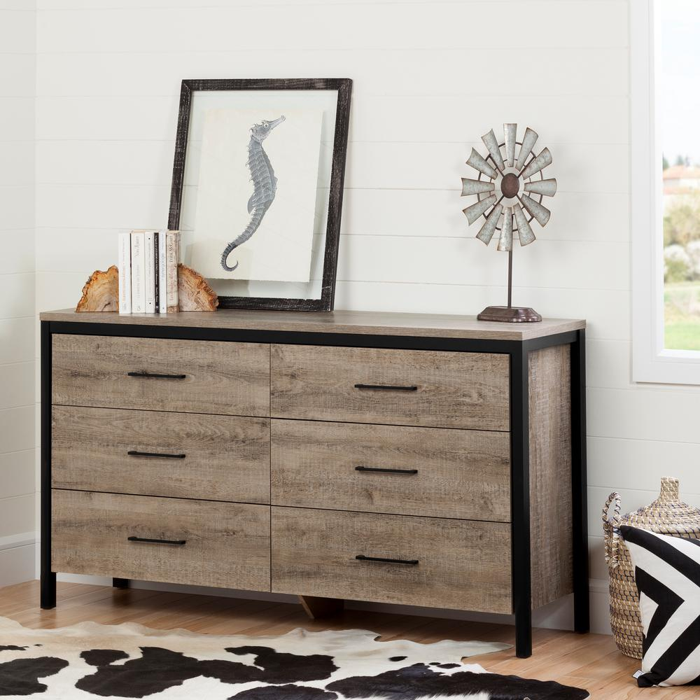 South Shore Versa 6 Drawer Chest Gray Maple