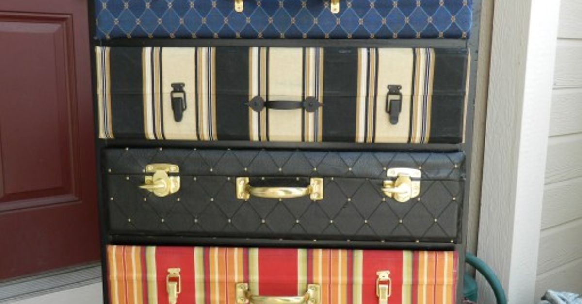 Picture of: Stacked Suitcase Chest Of Drawers