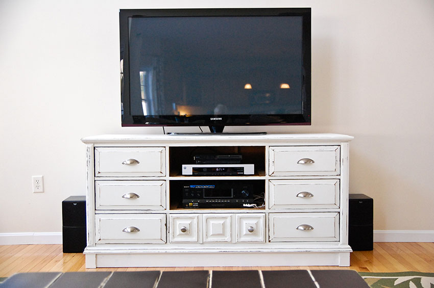 Picture of: Rustic Tall Dresser TV Stand