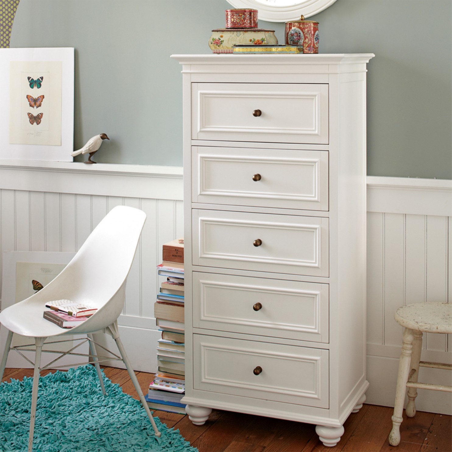 Tall Skinny Dresser White
