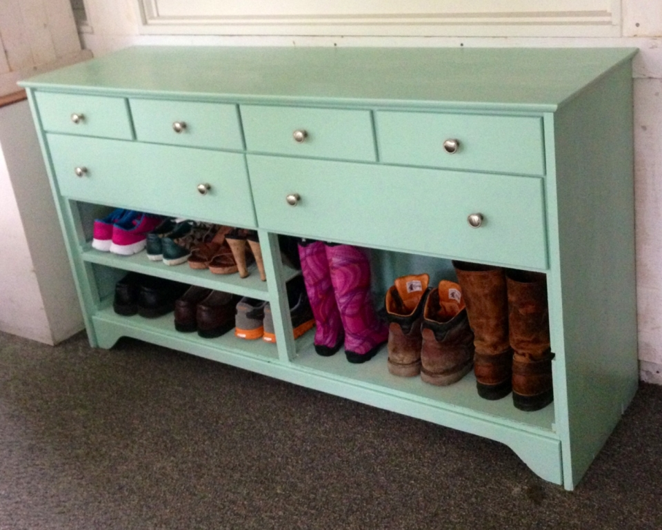 Teal Shoe Cabinet Entryway