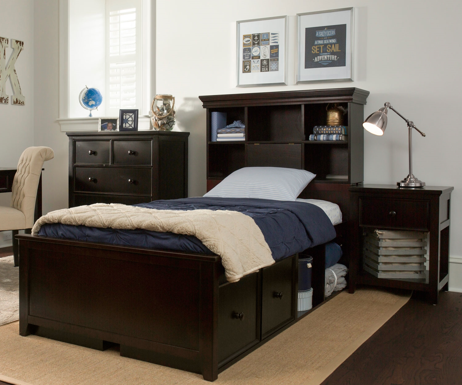 Image of: Twin Bed and Desk Set