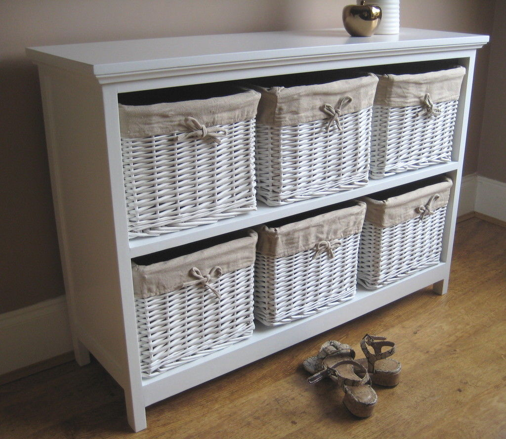 Picture of: White Dresser With Baskets