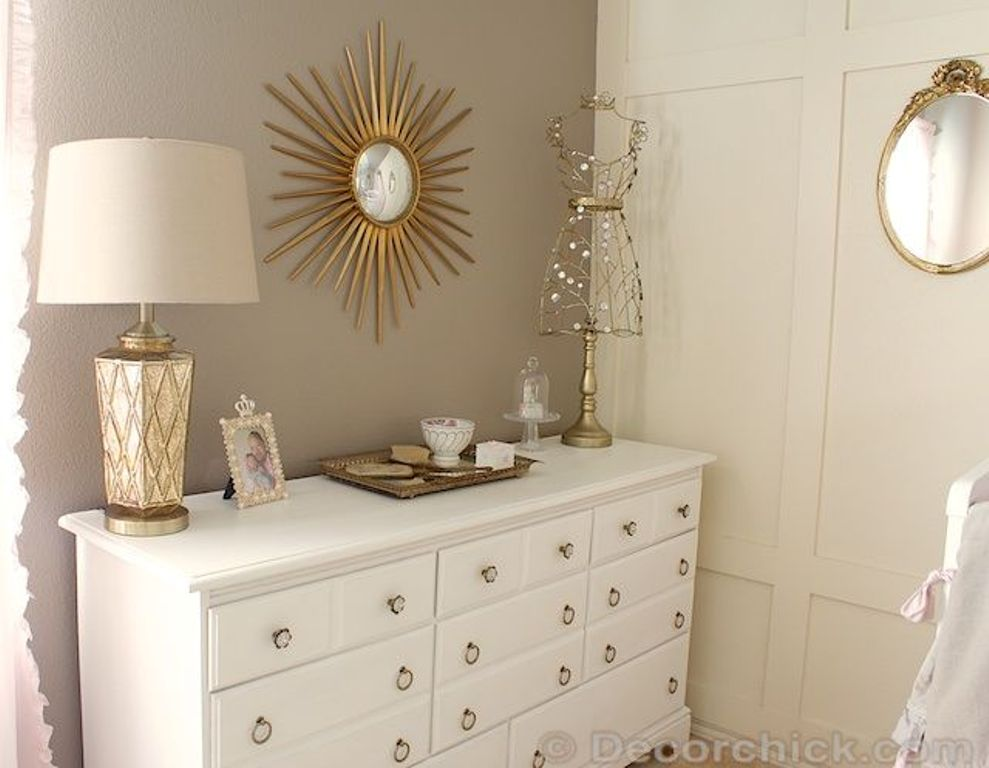 White Dresser With Gold Accents