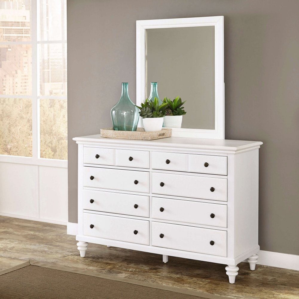 Picture of: White Dresser With Mirror Decor