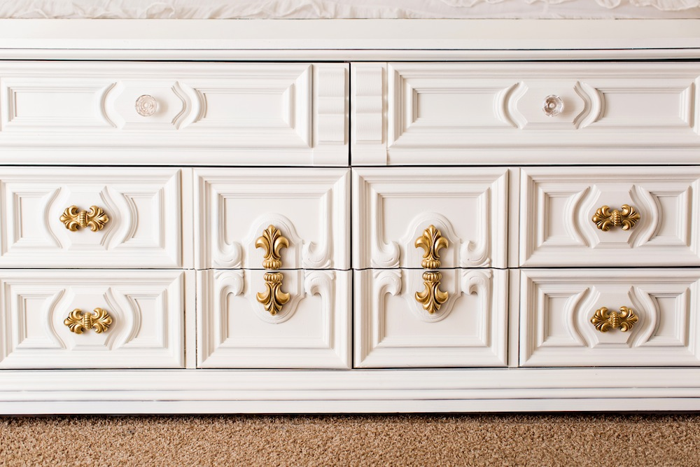 Picture of: White Dresser with Gold Trim