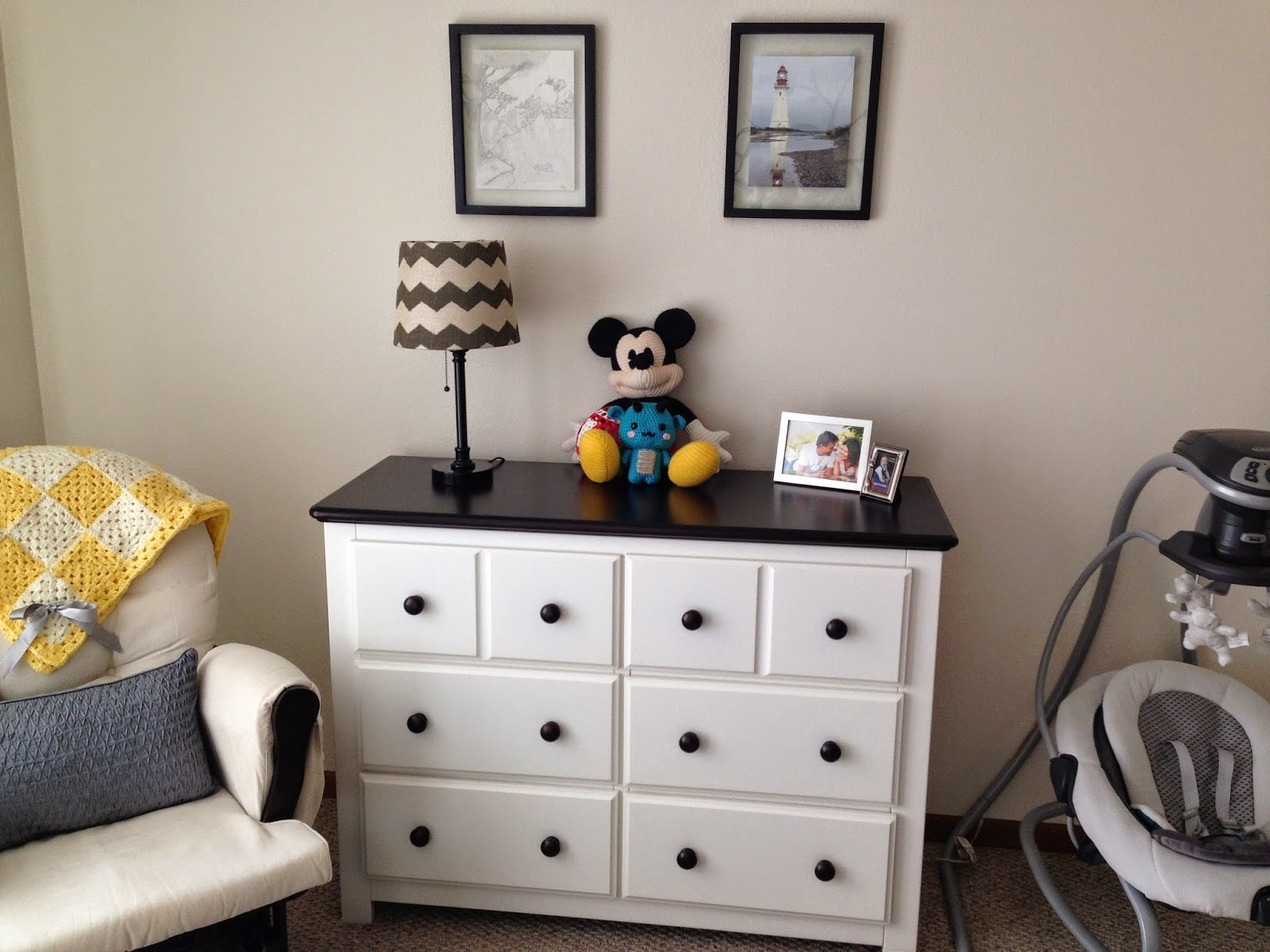 White Dresser with Lamp and Decor