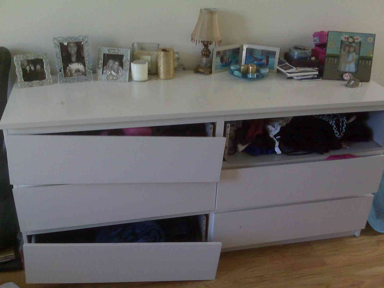 White Ikea Malm Desk With Pull Out Panel