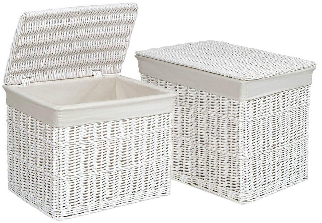 White Wicker Trunk With Lid