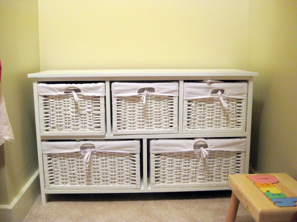 White Wooden Storage Cabinet With Wicker Baskets