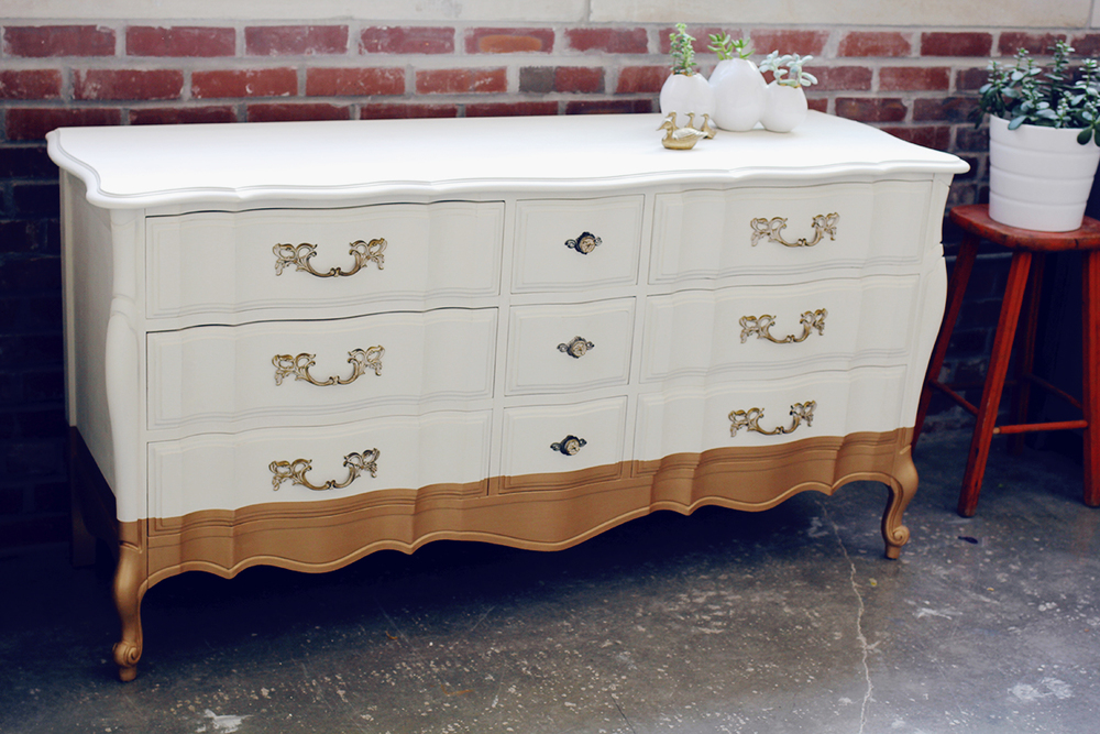 Picture of: White and Gold Distressed Furniture