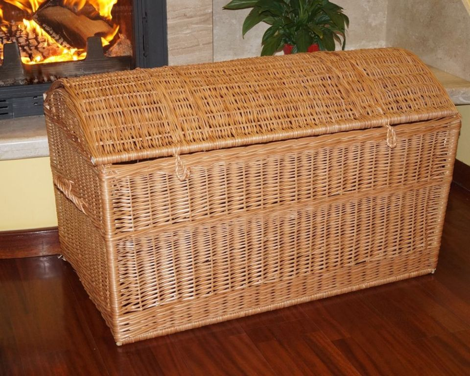 Image of: Wicker Blanket Storage Chest