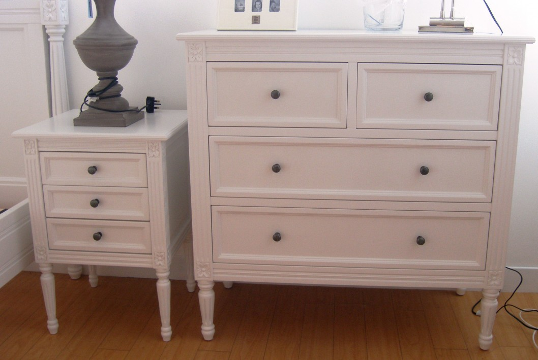 Wooden White Bedside Tables