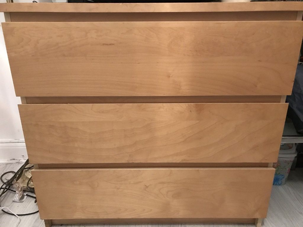 Picture of: Malm Three Drawer Dresser