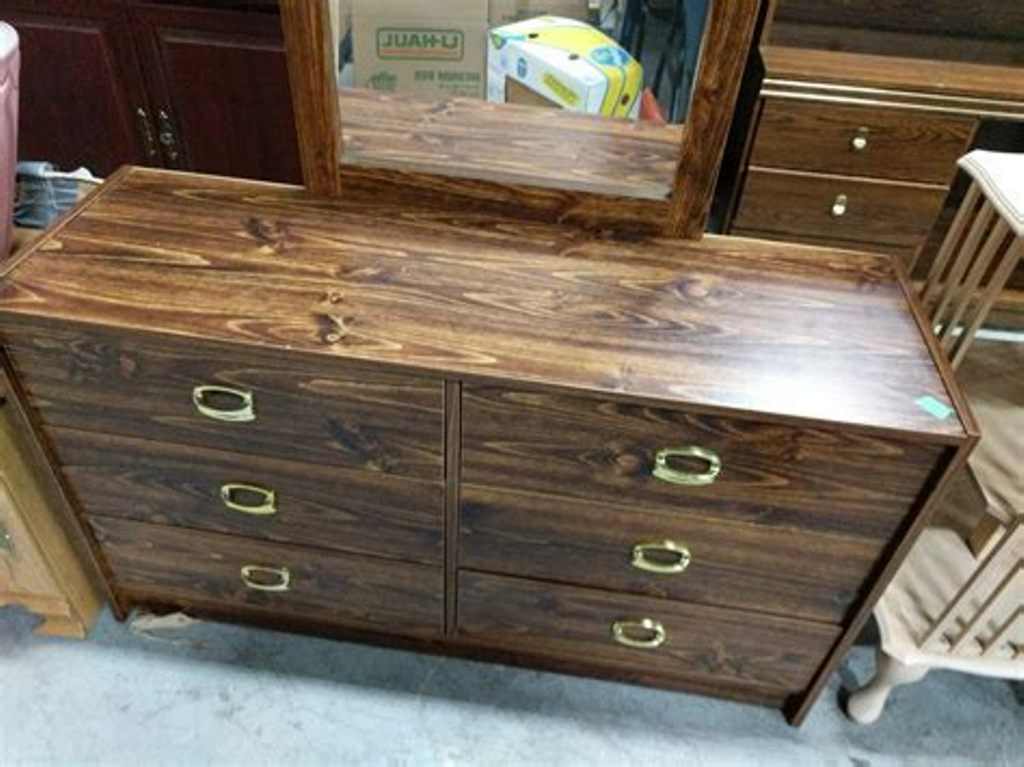 Picture of: 6 Drawer Mirrored Dresser