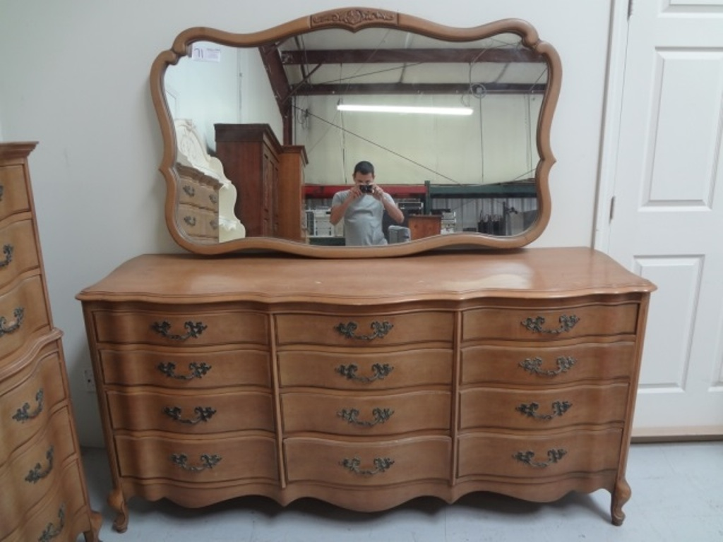 Picture of: Antique Wood Dresser With Mirror