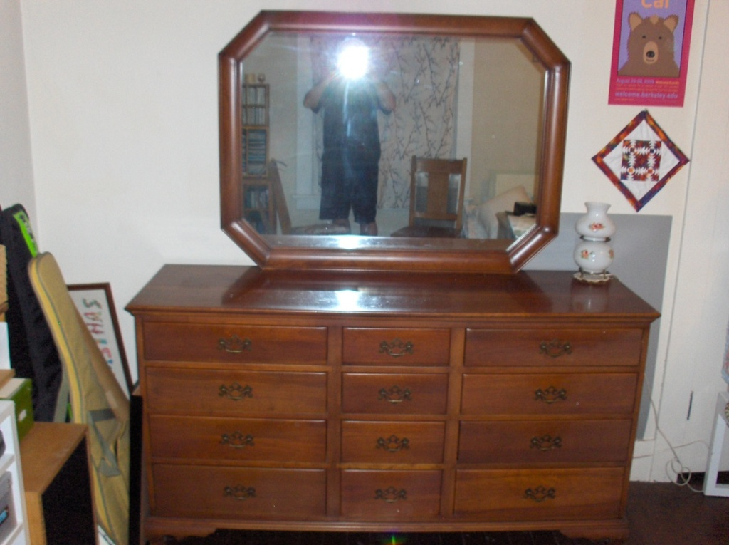 Picture of: Cherry Wood Dresser With Mirror